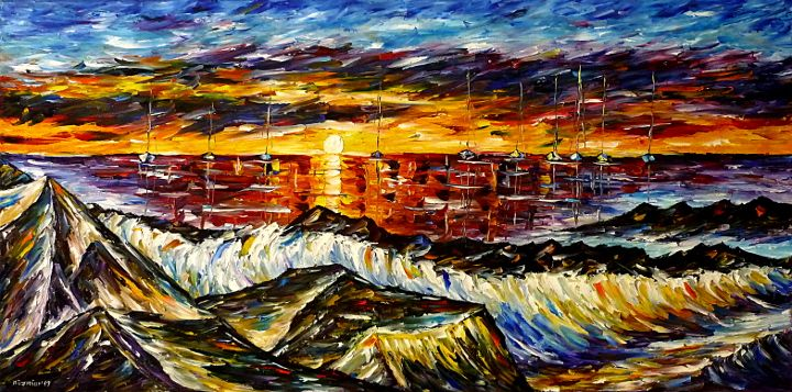 oilpainting,modern,impressionism,artdeco,abstractpainting,seascape,sunsetatsea,seaatsunset,sailboats,rockybeach,seapainting,waterpainting,boatspainting,foam,waves,beachatsunset,3dpainting,3doilpainting,3dpicture,3dimage,3dartwork,lively,colorful