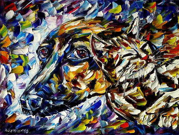 oilpainting,modern,impressionism,abstractpainting,catwithdog,catanddogportrait,youngkitty,playingtogether,animalpainting,animallove,catlove,doglove,