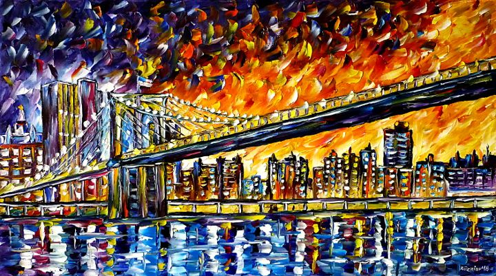 oilpainting,modern,impressionism,abstractpainting,newyork,bridgepainting,cityscape,nyc,bigapple,skypainting,waterpaiting,skycrapers,newyorkintheevening,eveningmood,eveningsky,lively,colorful