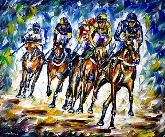 horserace,gallopracing,harnessracing,horseracetrack,horseracing,horsesports,equestrian,horselove,horselovers,horsepainting,horsesportrait,jockey,wildlifepainting,sportspainting,riding,riders,paletteknifeoilpainting,modernart,impressionism,artdeco,abstractpainting,livelycolours,livelypainting,colorfulpainting,brightcolors,lightreflections,impasto