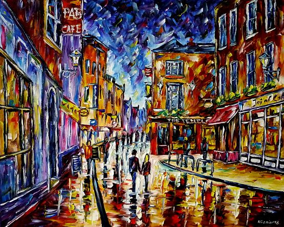 oilpainting,modern,impressionism,abstractpainting,cityscape,cityscene,irishpub,cafe,restaurant,barsindublin,templebar,lovecouple,walkinghandinhand,peoplepainting,eveningmood,lively,colorful
