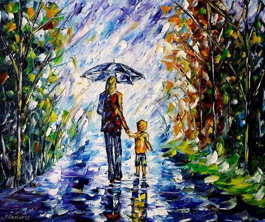 oilpainting,modern,impressionism,abstractpainting,motherandchild,motherandson,motheranddaughter,walkingintherain,landscapepainting,womanintherain,girlintherain,womanwithumbrella,girlwithumbrella,autumnlandscape,cloudysky,peoplepainting,lively,colorful