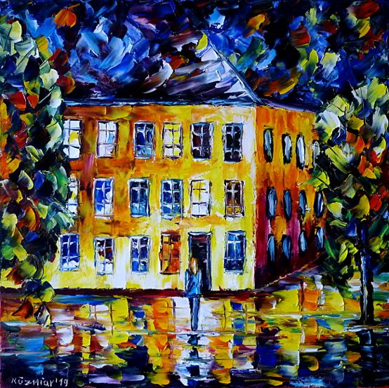oilpainting,modern,impressionism,artdeco,abstractpainting,cityscene,cityatnight,womanalone,lonelywoman,citylife,nightlife,streetlamp,lantern,womanfrombehind,cityscape,womanatnight,walkingatnight,awalkatnight,walkingalone,cominghome,goinghome,cityhouses,lonelystreets,emptystreets,peoplepainting,citypainting,womanpainting,lonelynight,bluepainting,yellowandblue,3dpaintings,3doilpaintings,3dpictures,3dimages,3dartworks,lively,colorful