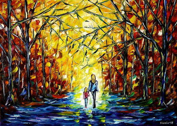 oilpainting,modern,impressionism,abstractpainting,landscapepainting,walkinginthepark,handinhand,autumnpark,autumnlandscape,motherwithchild,motherwithdaughter,motherlove,autumnforest,autumnmood,womanwithchild,lively,colorful