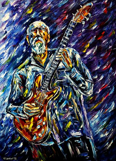 oilpainting,modern,impressionism,abstractpainting,JohnScofield,jazzmusician,freejazz,swingguitarist,rockguitarist,bluesguitarist,oldman,manwithbeard,makingmusic,musicplaying,lively,colorful