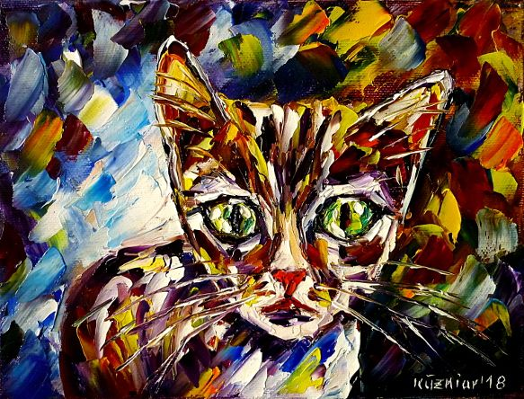 oilpainting,modern,impressionism,abstractpainting,catspainting,catlove,catfriends,youngkitten,kitty,babykitten, bigeyedcat,catportrait,animalpainting,animallove,animalbaby,lively,colorful