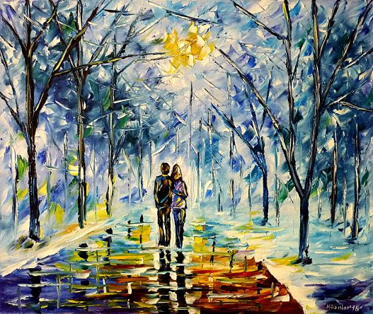 oilpainting,modern,impressionism,abstractpainting,winterpainting,wintermood,winterlandscape,lovers,walkinghandinhand,wintersun,winterpark,parkinwinter,snow,ice,icy,cold,lively,colorful