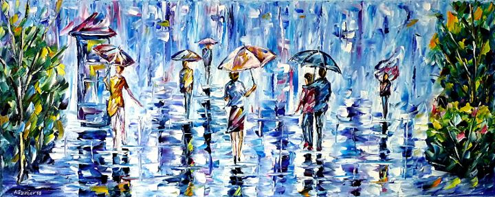 oilpainting,modern,impressionism,abstractpainting,peoplewithumbrella,womanwithumbrella,girlwithumbrella,lovecouplewithumbrella,cityscene,cityscape,cityintherain,raininthecity,cityonarainyday,lively,colorful