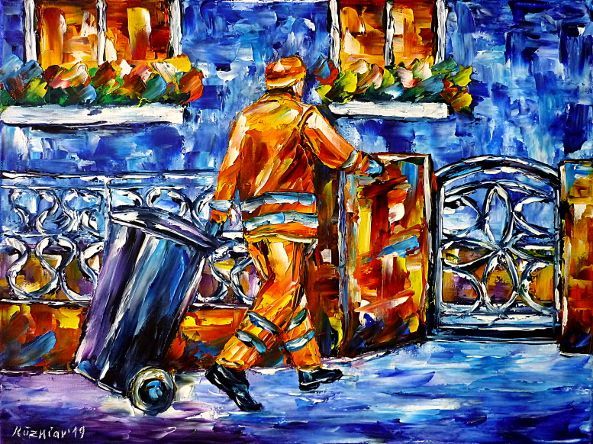 oilpainting,modern,impressionism,artdeco,abstractpainting,peoplepainting,refusecollection,roadcleaner,garbagebin,bluetonne,greentonne,wastedisposal,roadworker,streetsweeper,streetsweeping,cityworker,3dpainting,3doilpainting,3dpicture,3dimage,3dartwork,lively,colorful
