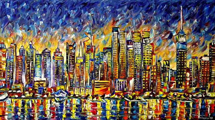 oilpainting,modern,impressionism,abstractpainting,newyorkskyline,manhattanskyline,skylinepaiting,cityscape,nyc,bigapple,skypainting,waterpaiting,skycrapers,newyorkintheevening,eveningmood,eveningsky,lively,colorful