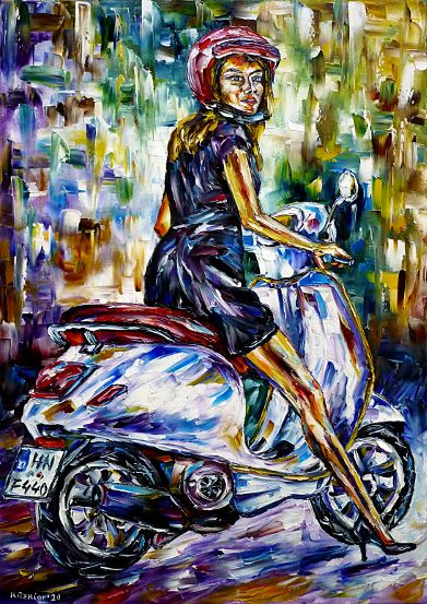 vespadriver,vespadriving,scooterdriver,scooterdriving,girlonavespa,girlonascooter,womanonavespa,girlwithhelmet,girlwithmotorcyclehelmet,motorcyclist,motorcycleriding,girlinablackdress,girlinasummerdress,summerpainting,summerfeelings,beautifulgirl,beautifulwoman,womanpainting,humanabstract,italiangirl,italianwoman,paletteknifeoilpainting,modernart,impressionism,artdeco,abstractpainting,livelypainting,brightcolors,lightreflections,impasto