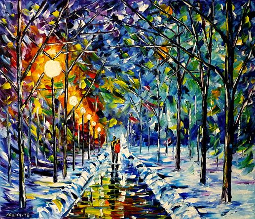 oilpainting,modern,impressionism,abstractpainting,winterpainting,wintermood,winterlandscape,lovers,lovecouple,walkinghandinhand,wintersun,parkinwinter,snow,winternight,lantern,treesinwinter,ice,icy,cold,lively,colorful